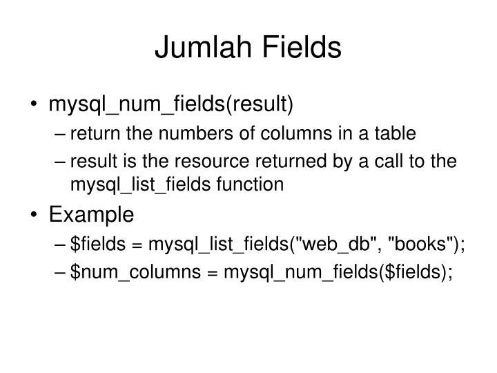 Jumlah Fields