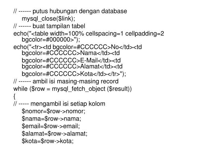 // ------ putus hubungan dengan database
