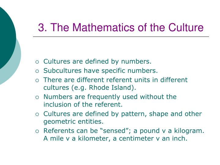 3. The Mathematics of the Culture
