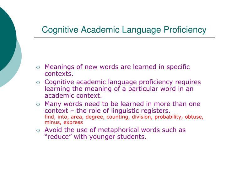 Cognitive Academic Language Proficiency