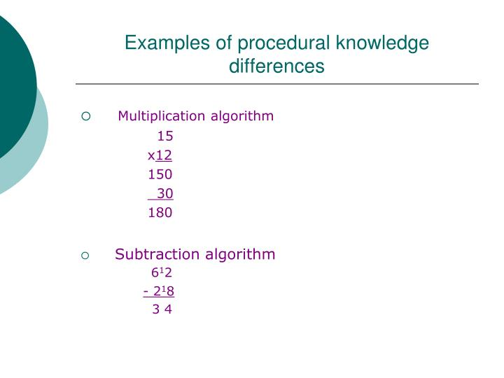 Examples of procedural knowledge differences