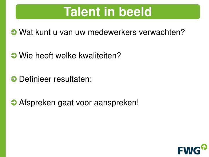 Talent in beeld