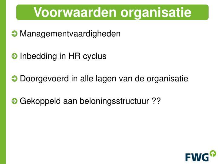 Voorwaarden organisatie