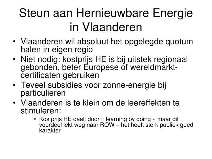 Steun aan Hernieuwbare Energie in Vlaanderen