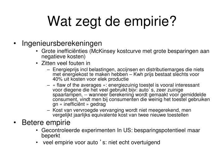 Wat zegt de empirie?