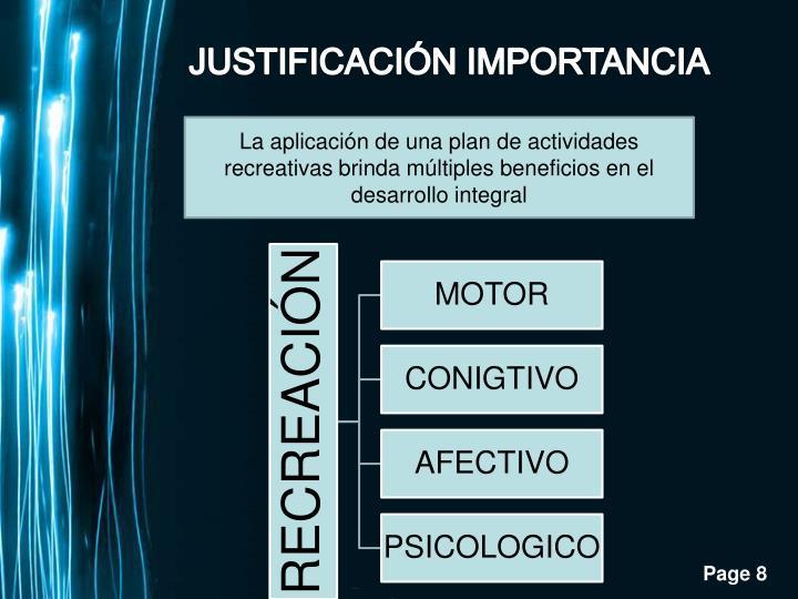 JUSTIFICACIÓN IMPORTANCIA