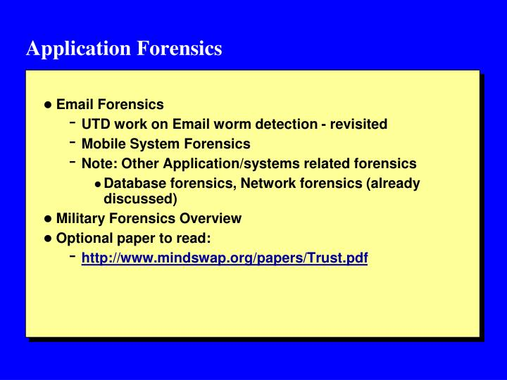 Application Forensics