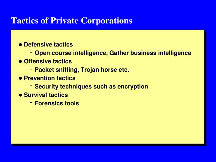 Tactics of Private Corporations