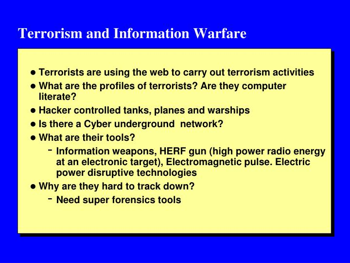 Terrorism and Information Warfare