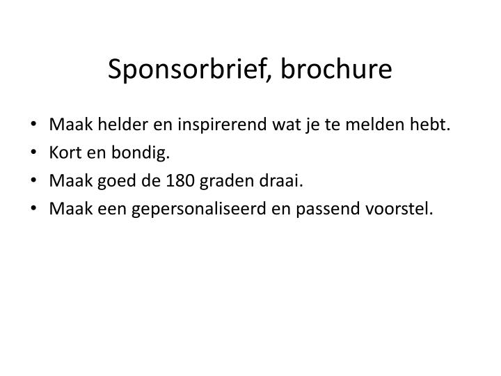 Sponsorbrief, brochure