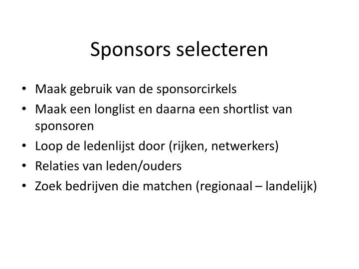 Sponsors selecteren