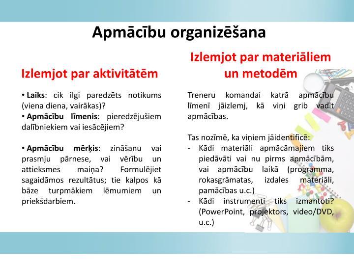 Apmācību organizēšana