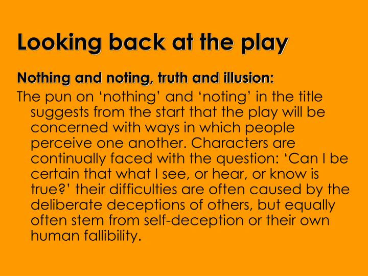 Looking back at the play