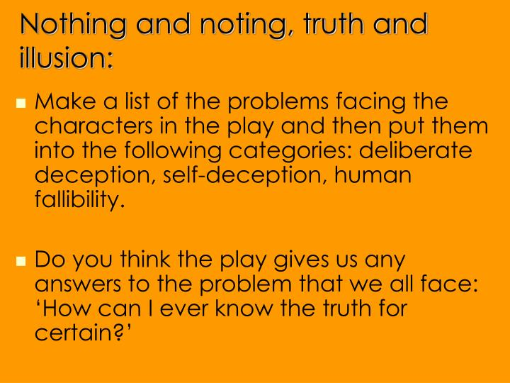 Nothing and noting, truth and illusion: