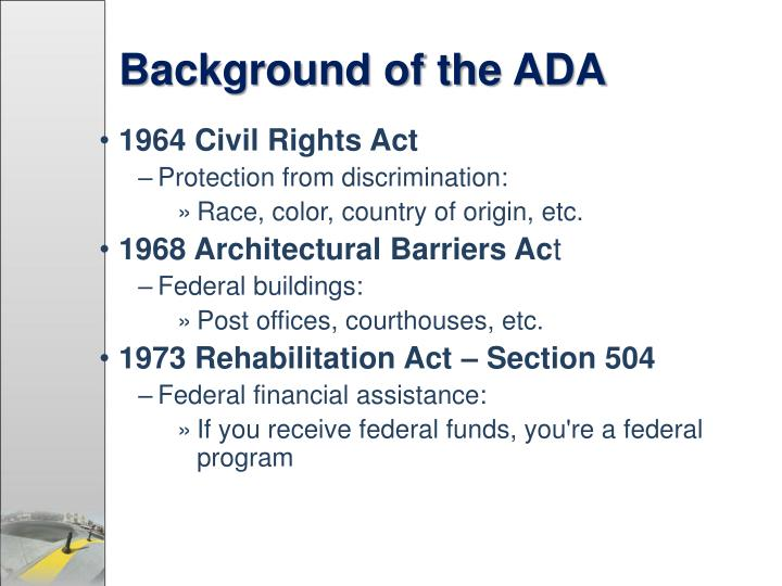 Background of the ADA