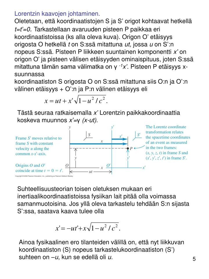 Lorentzin kaavojen johtaminen.