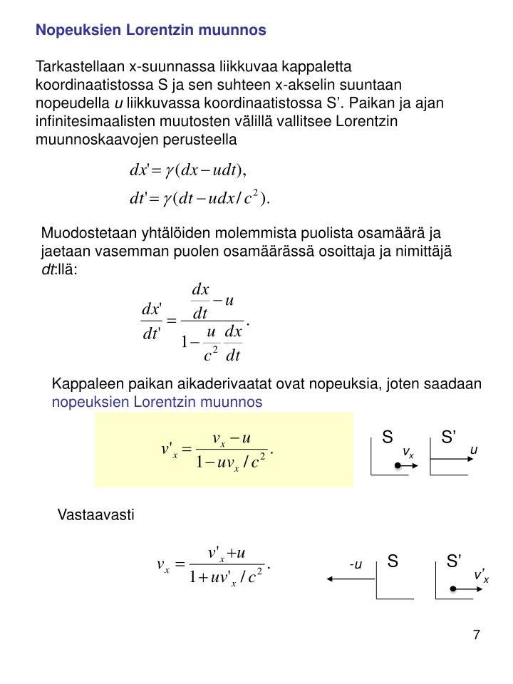 Nopeuksien Lorentzin muunnos