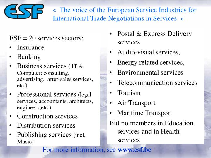 « The voice of the European Service Industries for International Trade Negotiations