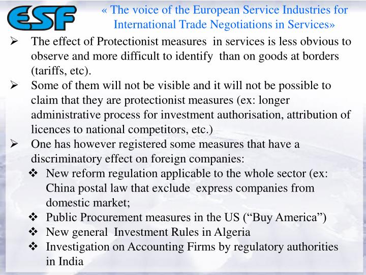 «The voice of the European Service Industries for International Trade Negotiations