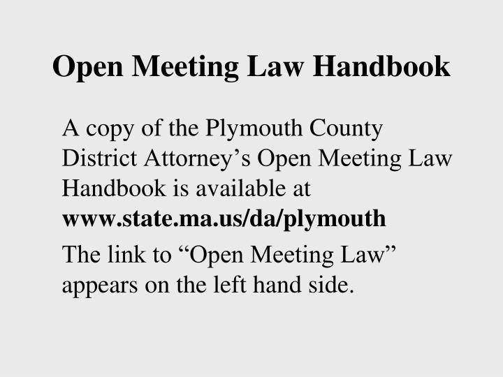 Open Meeting Law Handbook