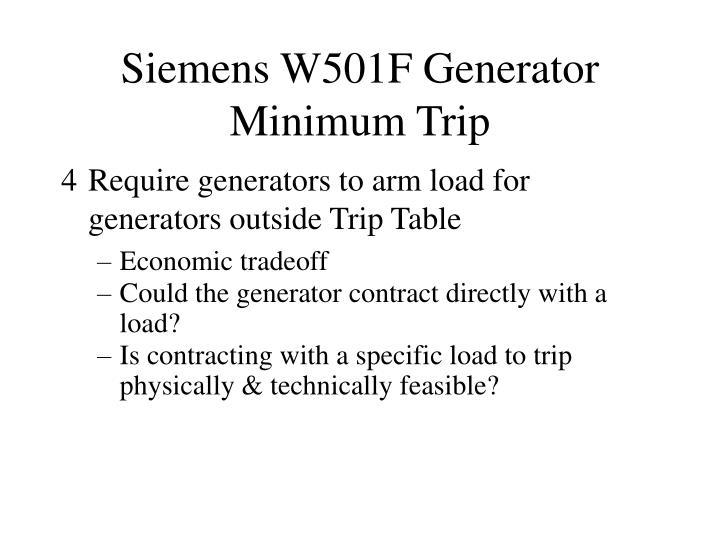 Siemens W501F Generator Minimum Trip