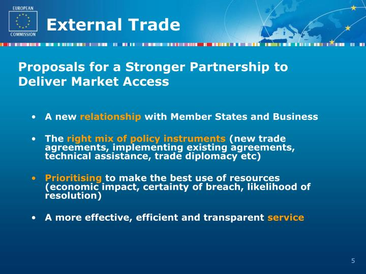 Proposals for a Stronger Partnership to Deliver Market Access