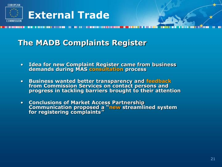 The MADB Complaints Register