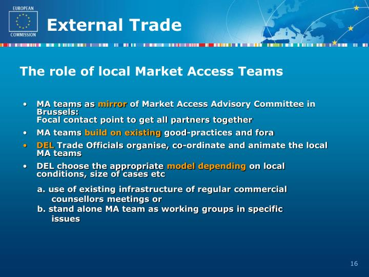 The role of local Market Access Teams