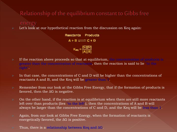 Relationship of the equilibrium constant to Gibbs free energy