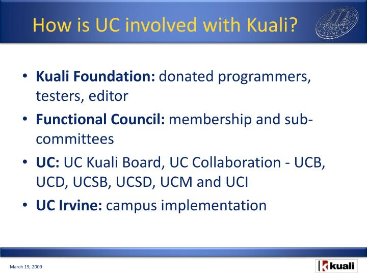 How is UC involved with Kuali?