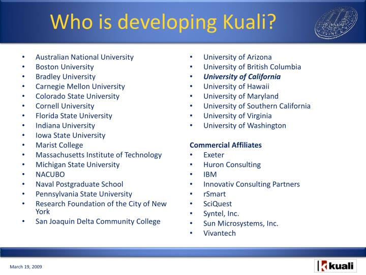 Who is developing Kuali?