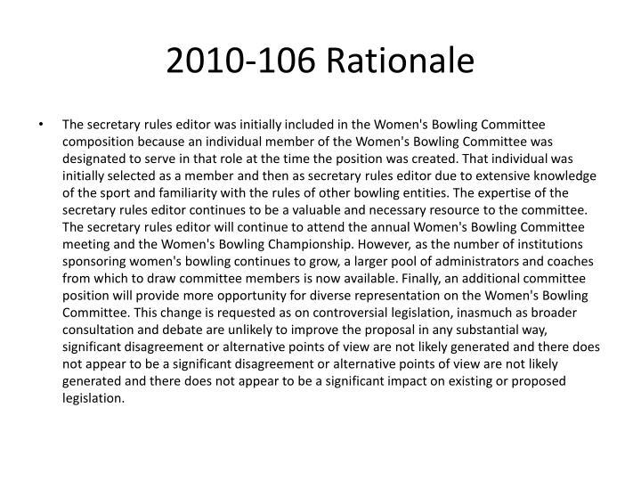 2010-106 Rationale