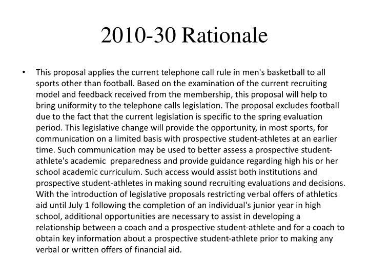 2010-30 Rationale