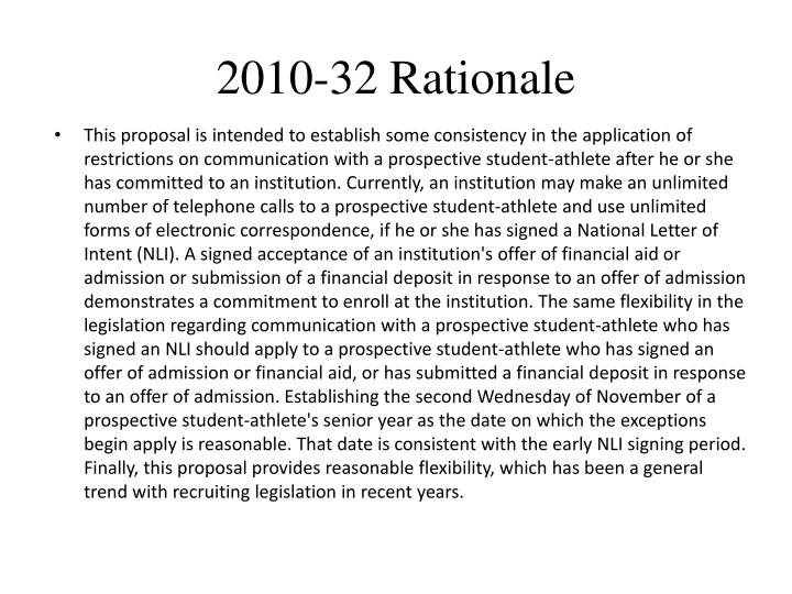 2010-32 Rationale
