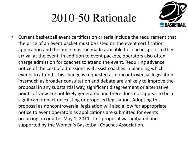 2010-50 Rationale