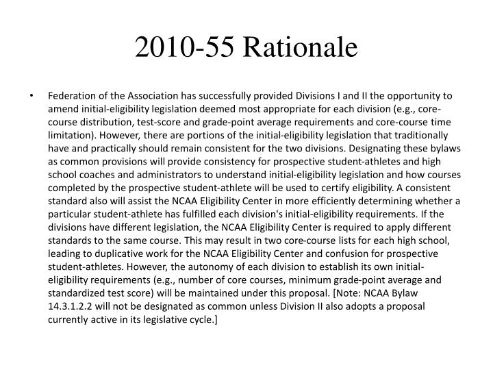 2010-55 Rationale
