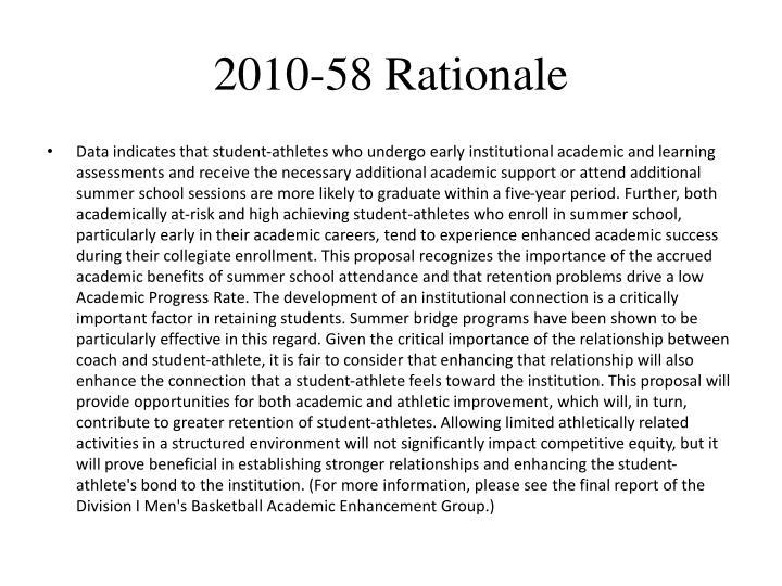 2010-58 Rationale