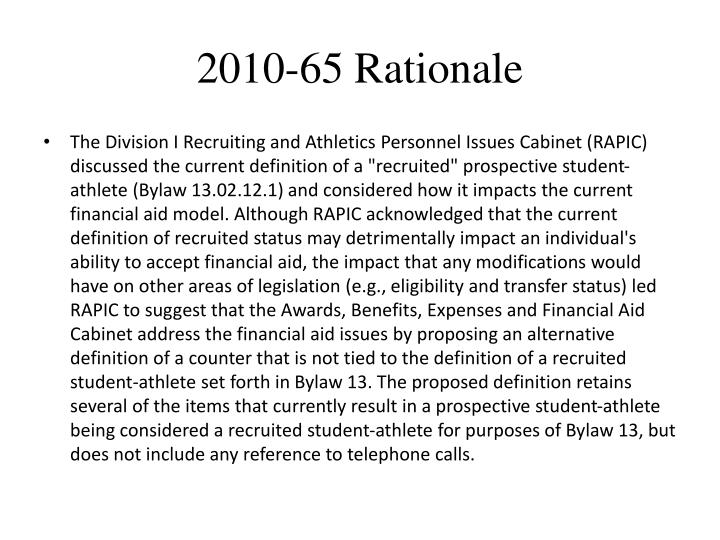 2010-65 Rationale