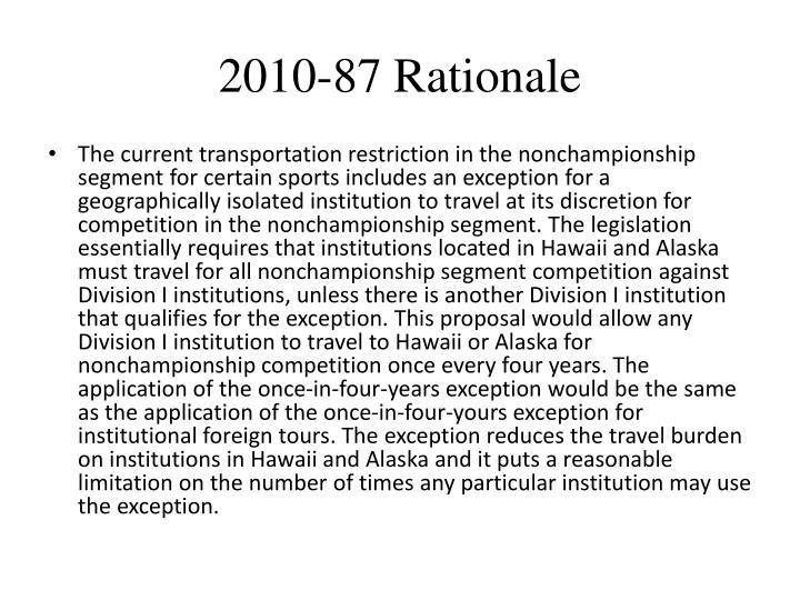 2010-87 Rationale