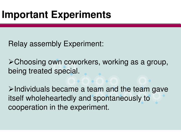 Important Experiments