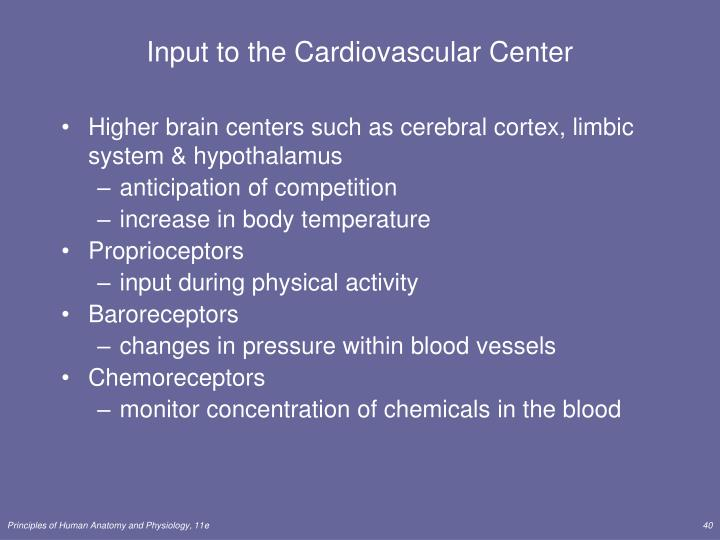 Input to the Cardiovascular Center