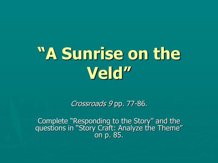 """A Sunrise on the Veld"""