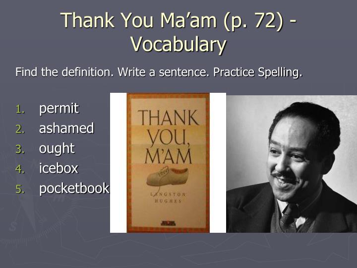 Thank You Ma'am (p. 72) - Vocabulary