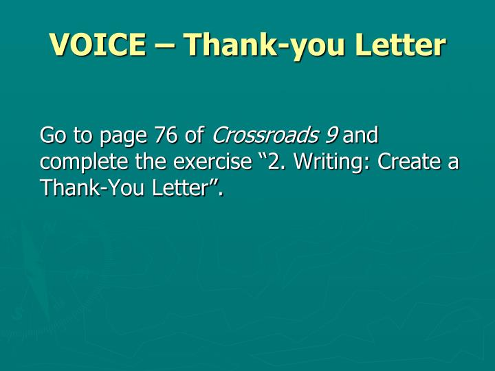 VOICE – Thank-you Letter