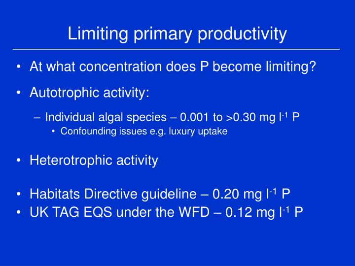 Limiting primary productivity