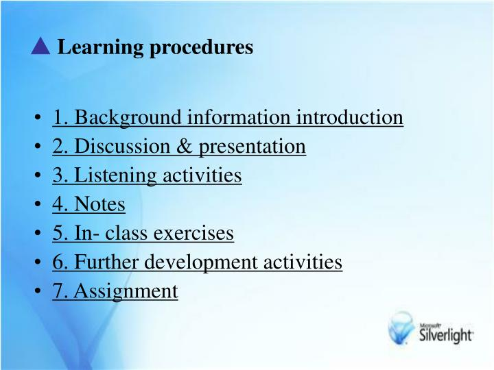 Learning procedures
