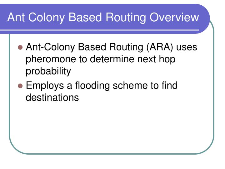Ant Colony Based Routing Overview
