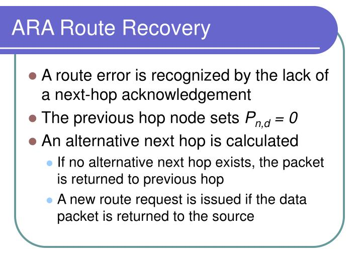 ARA Route Recovery