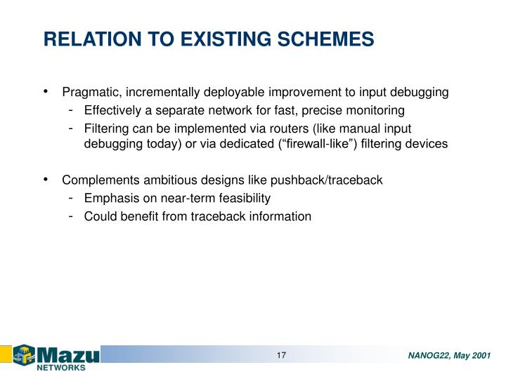 RELATION TO EXISTING SCHEMES