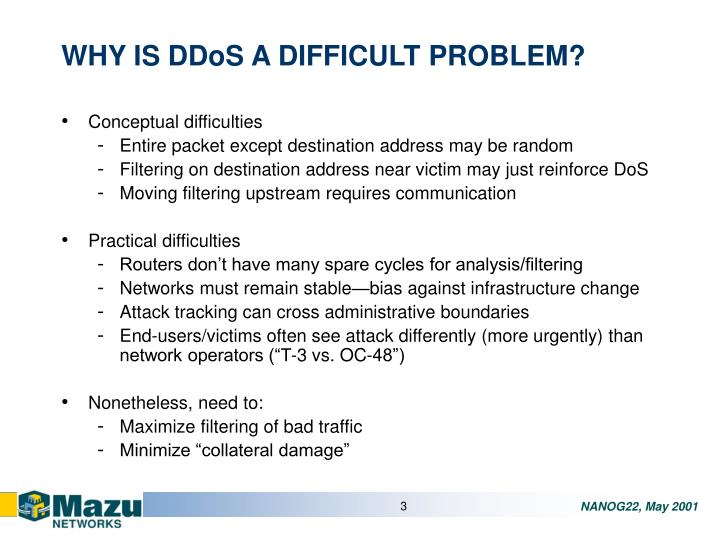 Why is ddos a difficult problem